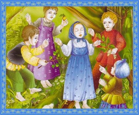 Святая Матрона на улице с детьми