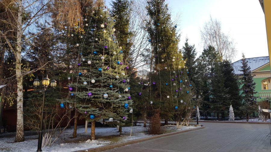 Елочные шары на монастырских елках )