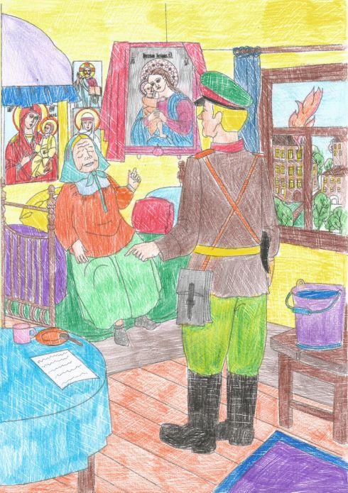 Милиционер у святой Матроны. Рисунок
