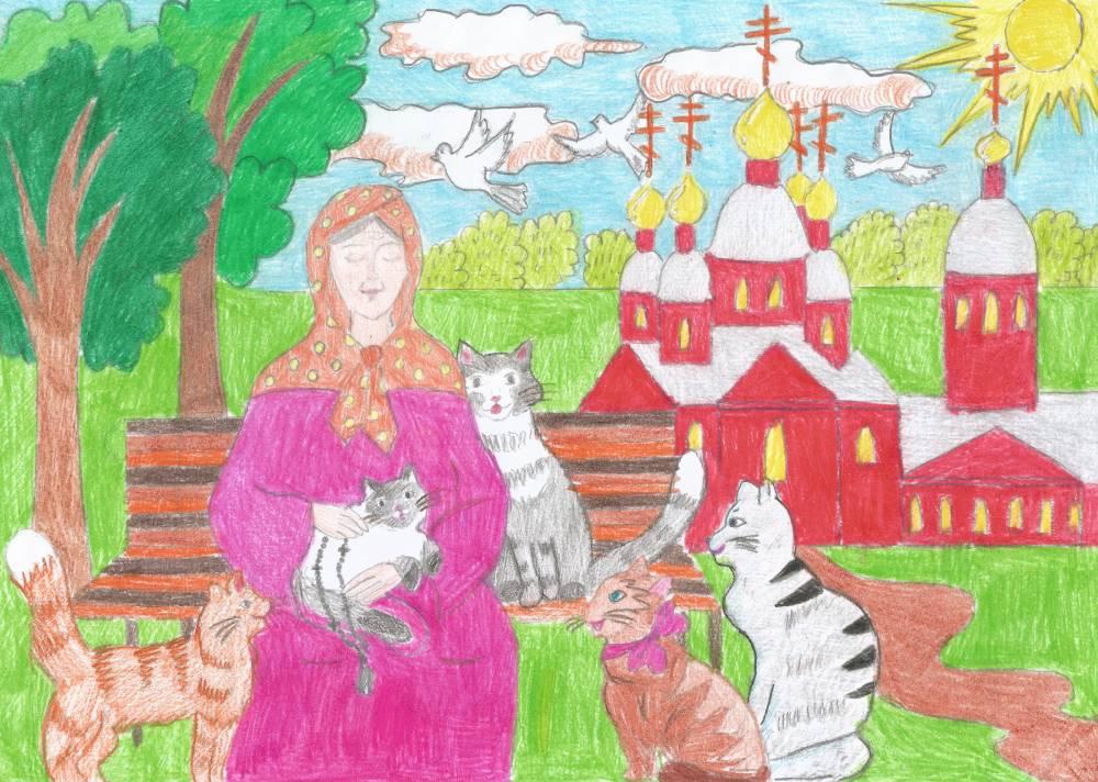 Святая Матрона с кошечками. Рисунок