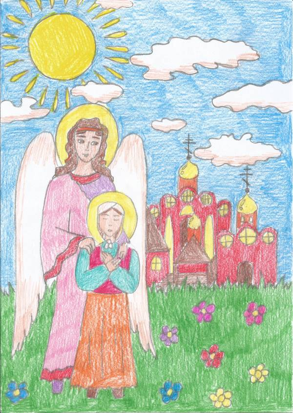 Ангел и блаженная Матронушка. Рисунок