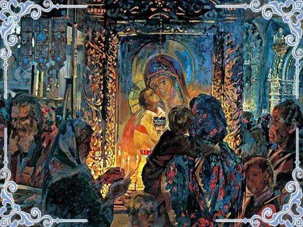 В храме перед иконой Богородицы