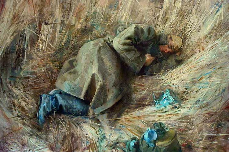 Солдат спит в поле