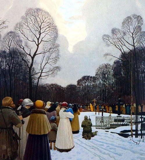 Люди на Смоленском кладбище